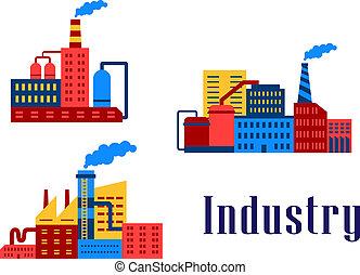 Flat factory industrial buildings set, suitable for ...