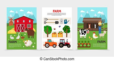 Flat Farm And Agriculture Posters