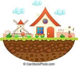Flat farm landscape illustration with farmhouse