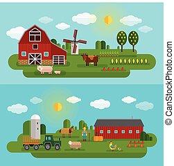 Flat Farm Panorama Set