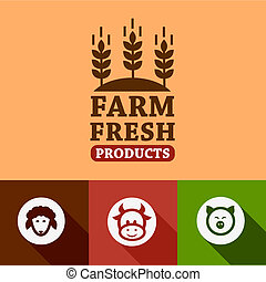 flat farm products emblems