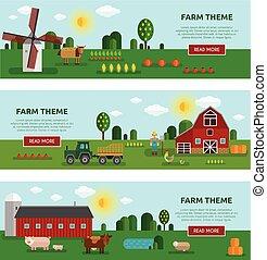 Flat Farm Vegetables Banner Set