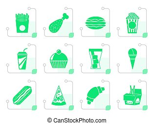 Flat fast food and drink icons