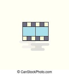 Flat Film Icon. Vector