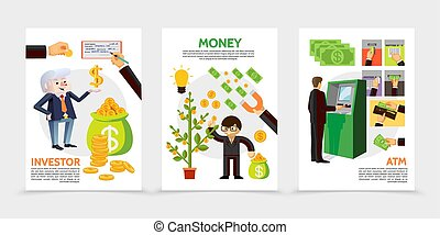 Flat Finance And Investment Vertical Banners