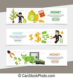 Flat Finance Horizontal Banners