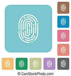 Flat fingerprint icons on rounded square color backgrounds.