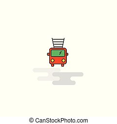 Flat Fire brigade truck Icon. Vector