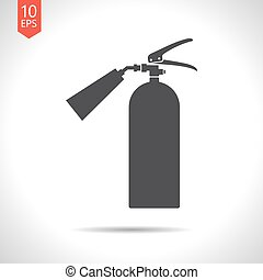 flat fire extinguisher - Vector flat black fire extinguisher...