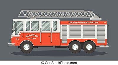 Flat fire truck