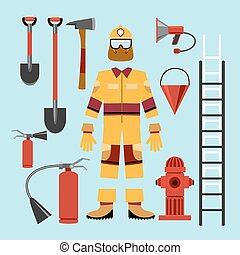 Flat firefighter uniform and tools equipment. Extinguisher...