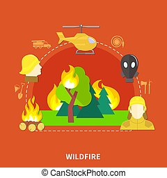 Flat Firefighting Illustration