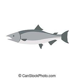 Flat fish icon logo isolated on white background vector illustration for design. Restaurant menu. Ocean, sea freshwater aquarium silhouette