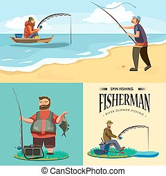 Flat fisherman hat sits on shore with fishing rod in hand and catches bucket and net