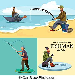 Flat fisherman hat sits on shore with fishing rod in hand and catches bucket and net, Fishman crocheted spin into the water and waiting big fish funny vector illustration, Man active banner concept