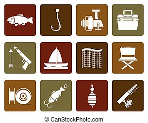 Flat Fishing and holiday icons - vector icon set
