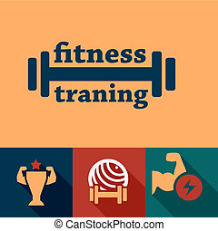 flat fitness and health emblems