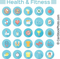 Flat Fitness and Wellness Icons