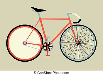 Flat fixed gear bicycle vector illustration