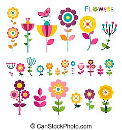 Flat Flower. Colorful Spring Flowers Icons Isolated on White Background. Vector.