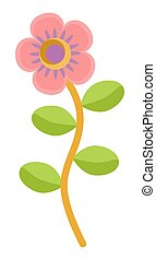 Flat flower icons in silhouette isolated on white. Cute stylized design in bright colors for stickers, labels, tags