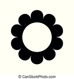 flat flower icons silhouette isolated on white. Cute retro design. daisy logo.