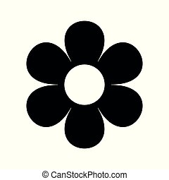 flat flower icons silhouette isolated on white. Cute retro design. daisy