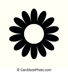 flat flower icons silhouette isolated on white. Cute retro design.