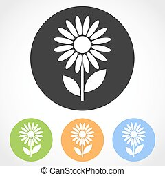 Flat flower icons - vector illustration.
