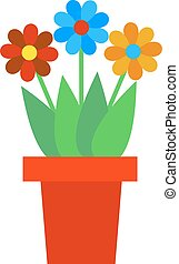 Spring colorful garden flowers in pot vector.