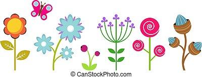 Flat flowers border. Colorful abstract floral elements, decorative children plants vector clipart