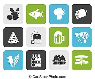 Flat food, drink and shop icons