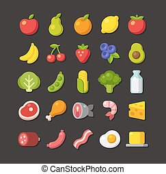 Flat food icon set