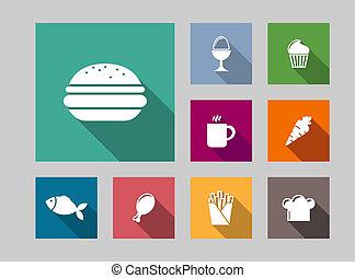 Flat food icons set