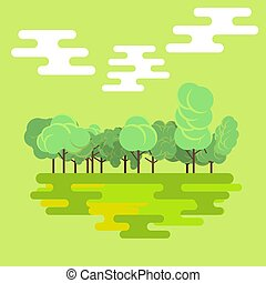 Flat forest green nature landscape background isolated vector. Natural tree beautiful tropical color. Summer season design organic botanical environment illustration. Colorful leaves foliage art set