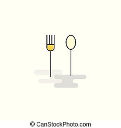 Flat Fork and spoon Icon. Vector