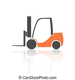 Flat forklift icon, vector illustration.