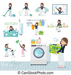 A set of formal fashion women related to housekeeping such as cleaning and laundry. There are various actions such as child rearing. It's vector art so it's easy to edit.