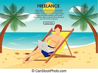 Flat Freelance Concept