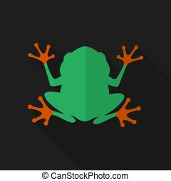 Flat frog with long shadow. Vector icon