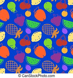 Flat fruits seamless pattern. Vector flat Illustrations of watermelon, banana, cherry, apple, strawberries,orange, kiwi fruit, pear for web, print and textile