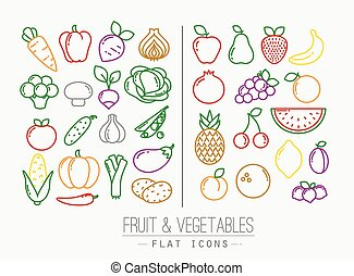 Flat Fruits Vegetables Icons Color