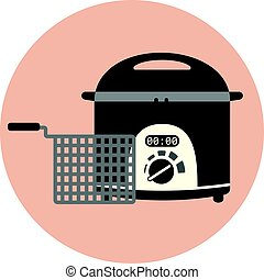 Flat fryer icon, chip pan, deep frying machine - Flat vector...