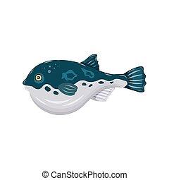 Flat fugu pufferfish isolated on white background. Fresh raw fish - vector illustration. Design element for emblem, menu, logo, label, sign, brand mark