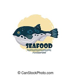 Flat fugu pufferfish seafood restaurant label with splash and text isolated on white background. Fresh raw fish - vector illustration. Design element for emblem, menu, logo, sign, brand mark