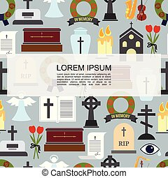 Flat Funeral Colored Icons Seamless Pattern