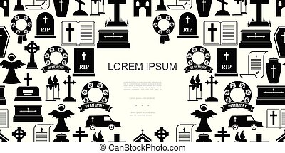 Flat Funeral Icons Seamless Pattern