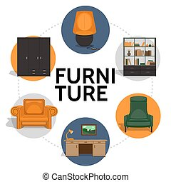 Flat Furniture Round Concept