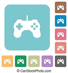 Flat game controller icons on rounded square color...