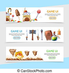 Flat Game Design Horizontal Banners